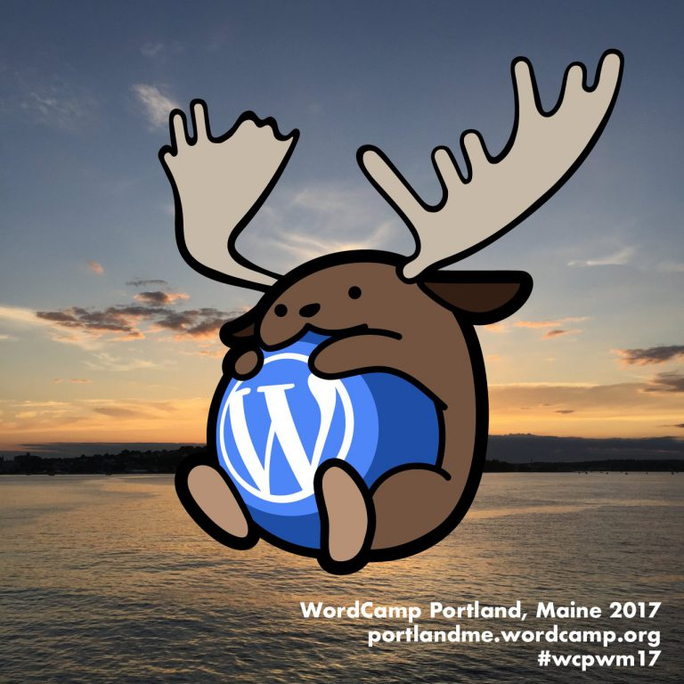 This year's WordCamp Portland Wapuu, a mooselike creature that is mascot for the event.